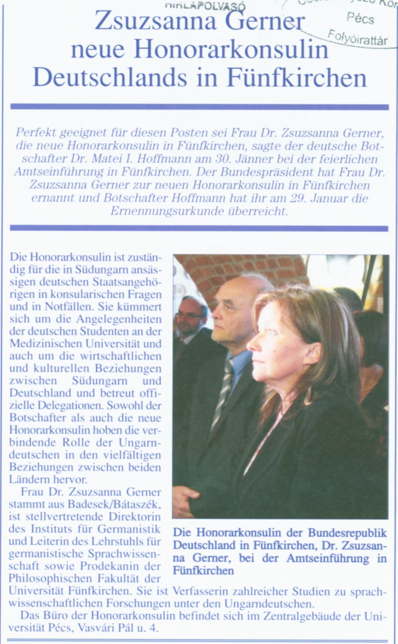 Zsuzsanna Gerner neue Honorarkonsulin Deutschlands in Fünfkirchen