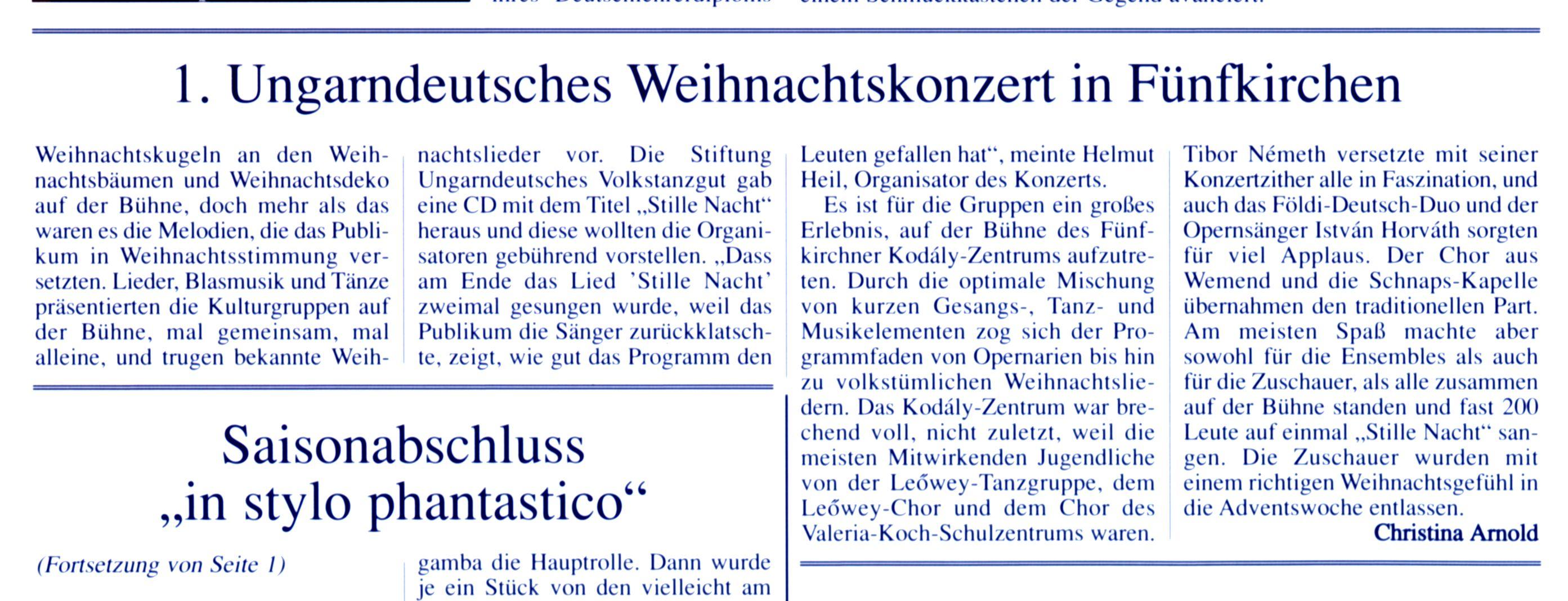 1. Ungarndeutsches Weihnachtskonzert in Fünfkirchen